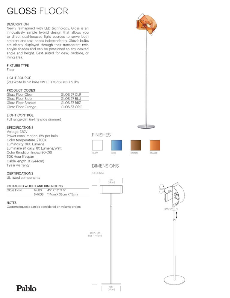American Gloss Floor Lamp in Orange by Pablo Designs For Sale