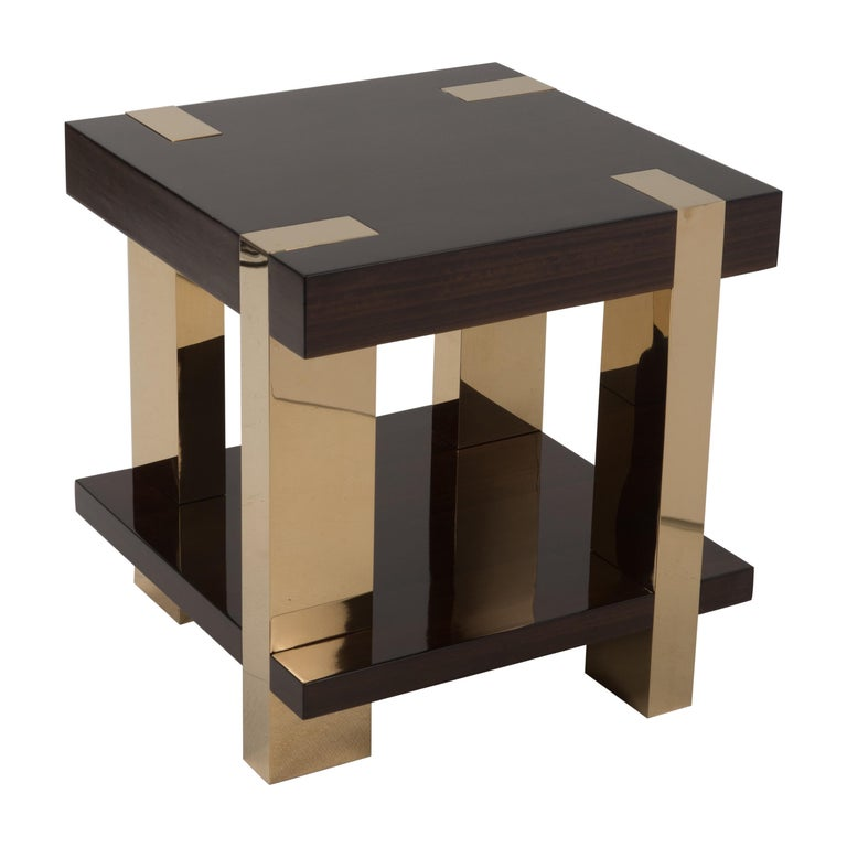 Glossy Italian Rosewood Veneer and Brass Two-Tier Side Table For Sale