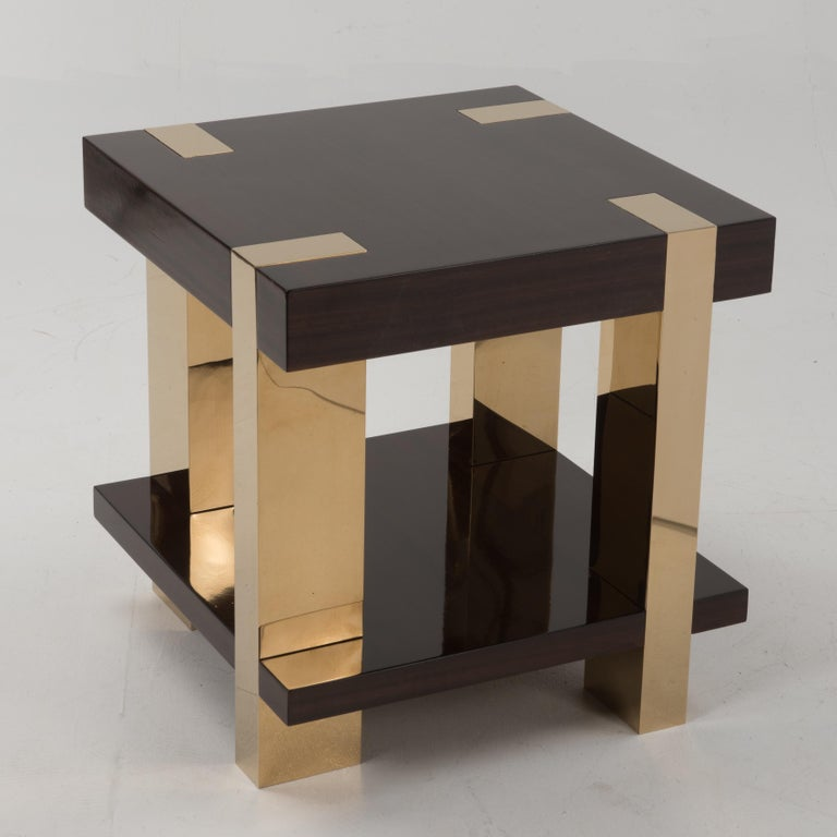 Modern Glossy Italian Rosewood Veneer and Brass Two-Tier Side Table For Sale