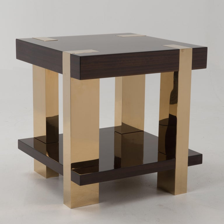 Late 20th Century Glossy Italian Rosewood Veneer and Brass Two-Tier Side Table For Sale