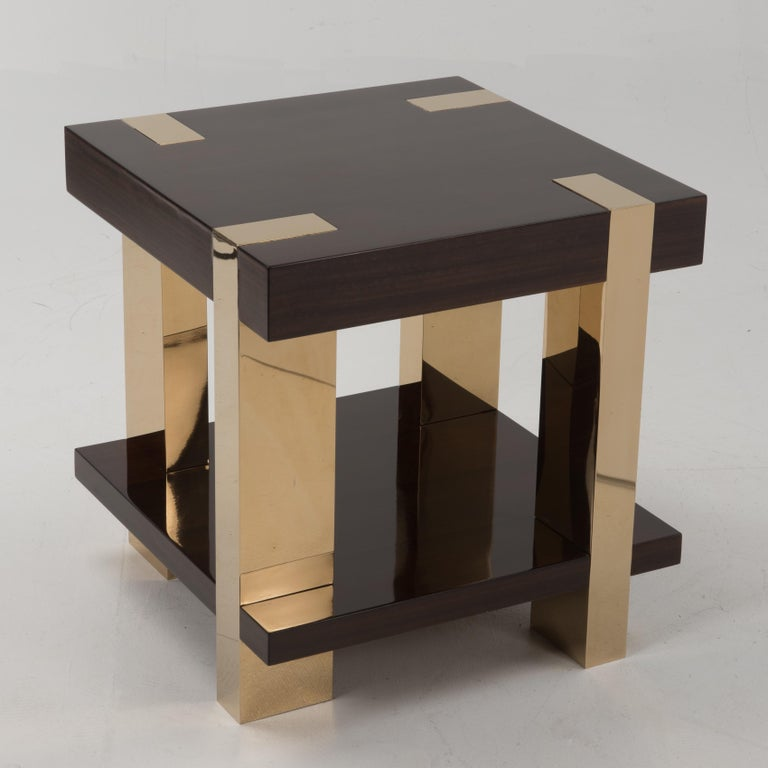 Glossy Italian Rosewood Veneer and Brass Two-Tier Side Table For Sale 1