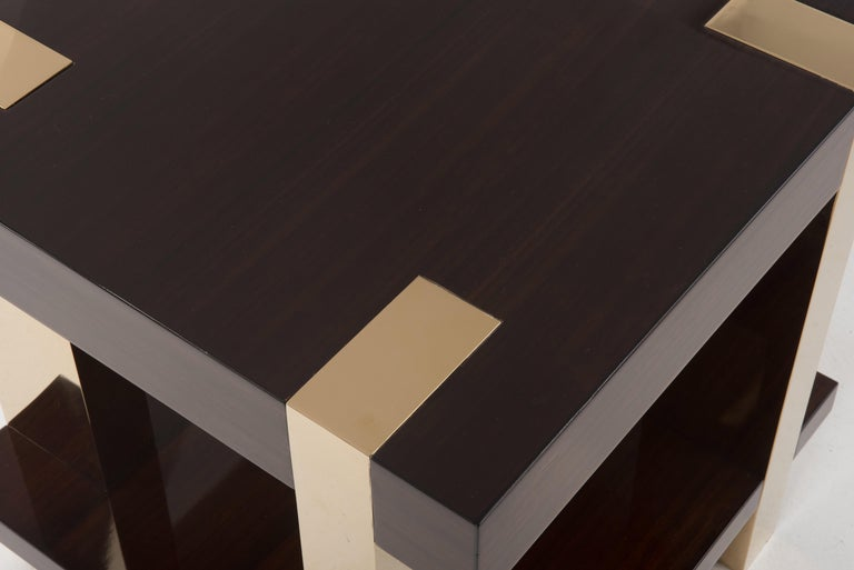 Glossy Italian Rosewood Veneer and Brass Two-Tier Side Table For Sale 2