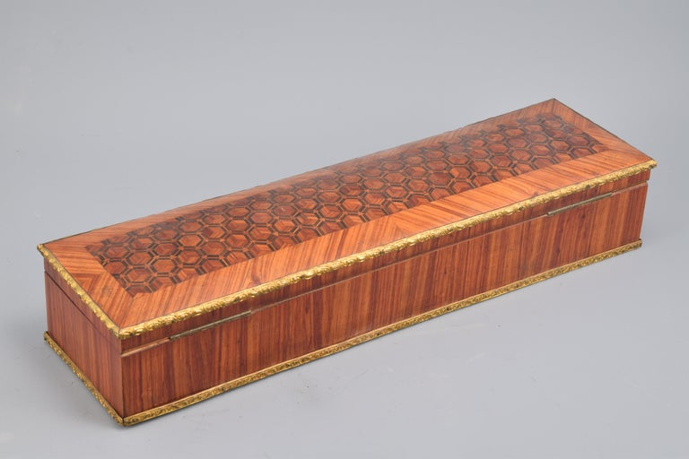 Neoclassical Gloves or Fans Box, Marquetry, Rosewood, Bronze, 19th Century For Sale