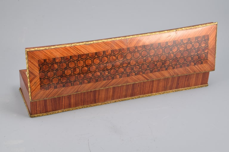 European Gloves or Fans Box, Marquetry, Rosewood, Bronze, 19th Century For Sale