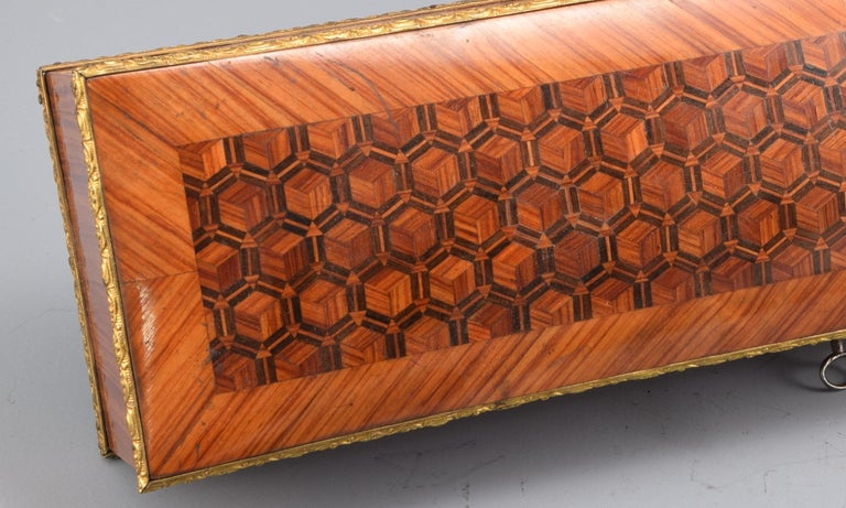 Gloves or Fans Box, Marquetry, Rosewood, Bronze, 19th Century For Sale 1