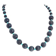 "Gemjunky Romantic Blue Tiger Eye & Turquoise 22"" Long Necklace Day/Evening"
