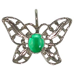 Gemjunky Glowing Brazilian Emerald Cabochon in Sterling Silver Butterfly Pendant
