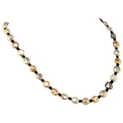 Glowing, Freshwater Pearl Necklace with Black Opal Accents