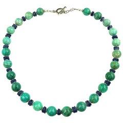 Gemjunky Glowing Green Amazonite and Shining Blue Kyanite Necklace