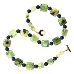 Gemjunky Glowing Green Brazilian Prehnite with Blue Agate Necklace
