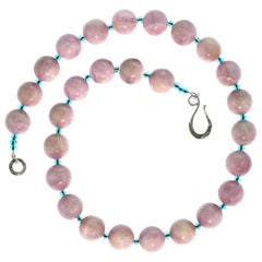 Gemjunky Glowing Kunzite Necklace Accented with Teal Colored Czech Beads
