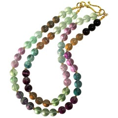 Gemjunky Glowing Multi-Color Fluorite Double Strand Necklace