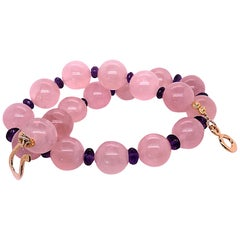 Glowing Rose Quartz and Amethyst Necklace