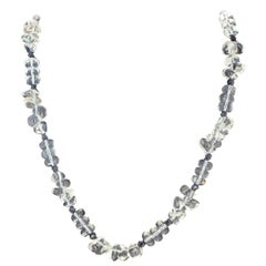 Glowing Silvery White Quartz and Black Spinel Diamond Clasp Necklace