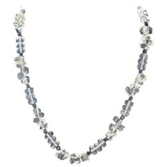 "Gemjunky Sweet 16 Silvery White Quartz & Black Spinel Dia/Clasp 16.5"" Necklace"