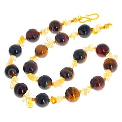 Gemjunky Glowing Natural Tiger Eye and Citrine Necklace Day-to-Evening