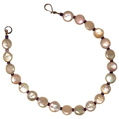 Gemjunky Glowing White Coin Pearl Choker Necklace