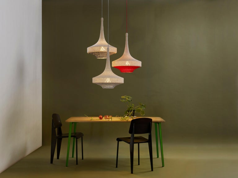 Hand-Crafted Glück Ø60 Pendant Light, Hand Crocheted in 100% Mercerized Egyptian Cotton For Sale
