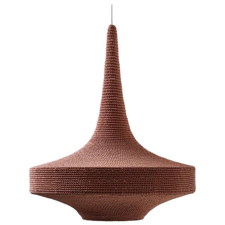 Glück Ø60 Pendant Light, Hand Crocheted in 100% Mercerized Egyptian Cotton For Sale