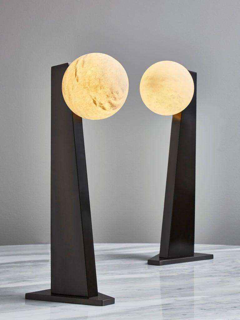 Modern Glustin Luminaires Asymmetrical Brass Table Lamp with Alabaster Globe For Sale