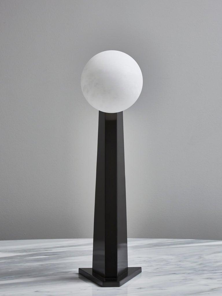Italian Glustin Luminaires Asymmetrical Brass Table Lamp with Alabaster Globe For Sale