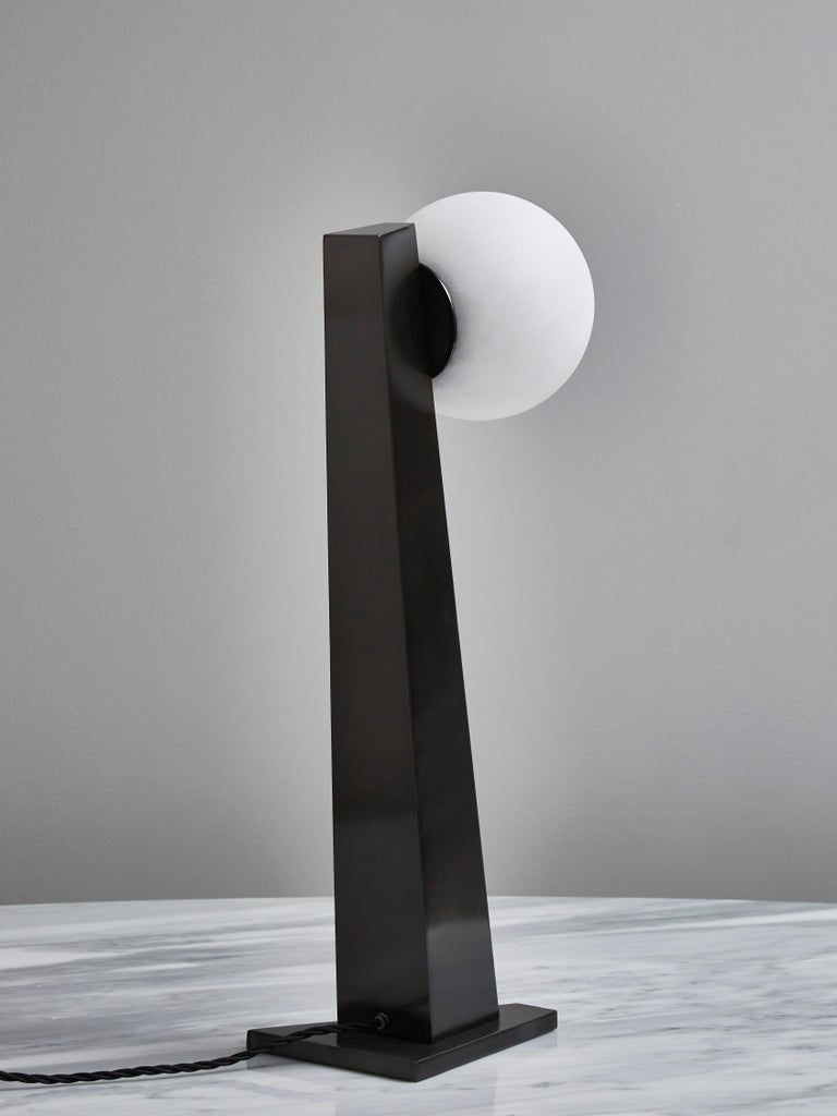 Glustin Luminaires Asymmetrical Brass Table Lamp with Alabaster Globe In New Condition For Sale In Saint-Ouen, IDF