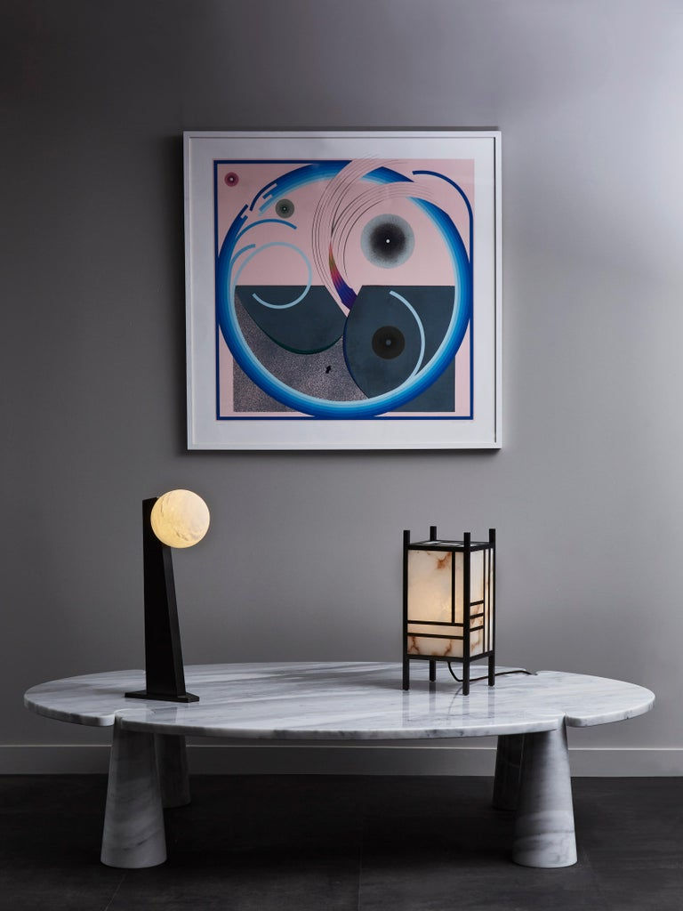 Glustin Luminaires Asymmetrical Brass Table Lamp with Alabaster Globe For Sale 3