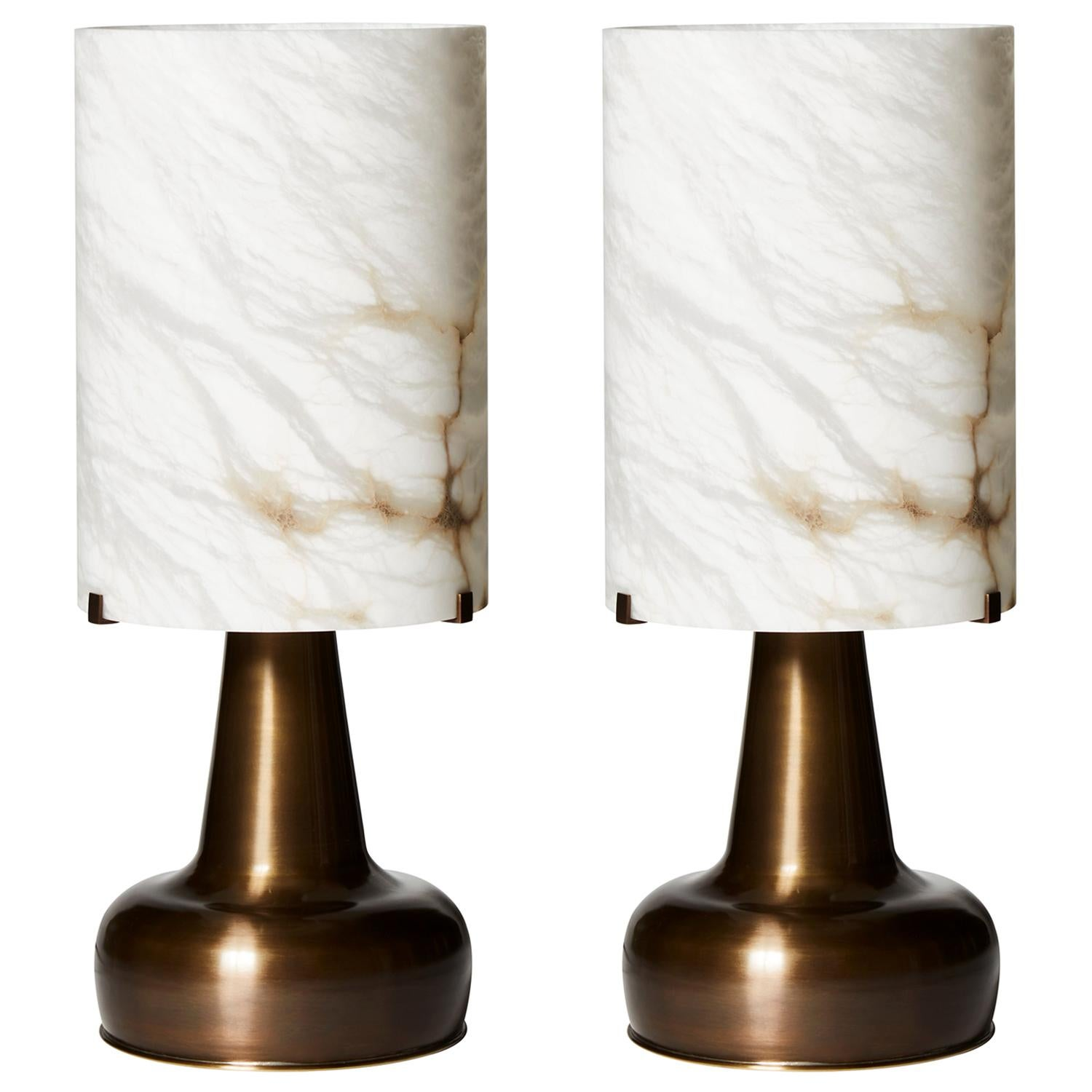Glustin Luminaires Pear Shaped Brass Table Lamps and Alabaster Shades