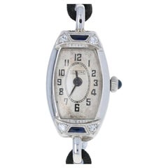 Glycine Art Deco Diamond Ladies Watch, 18k White Gold Quartz Conversion Vintage