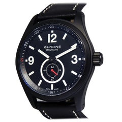 Glycine Incursore Black Jack 3878 Jack Automatic Black Dial Black Leather Limit