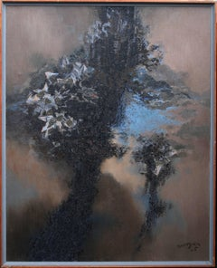 God of Winter Plants - Welsh 60s Abstract art oil painting landscape flora fauna