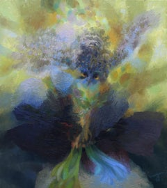 Green Man with Owl - British Welsh Abstract art oil painting nature country
