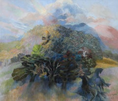 Landscape with Horse - Welsh abstract oil painting mountain tree birds