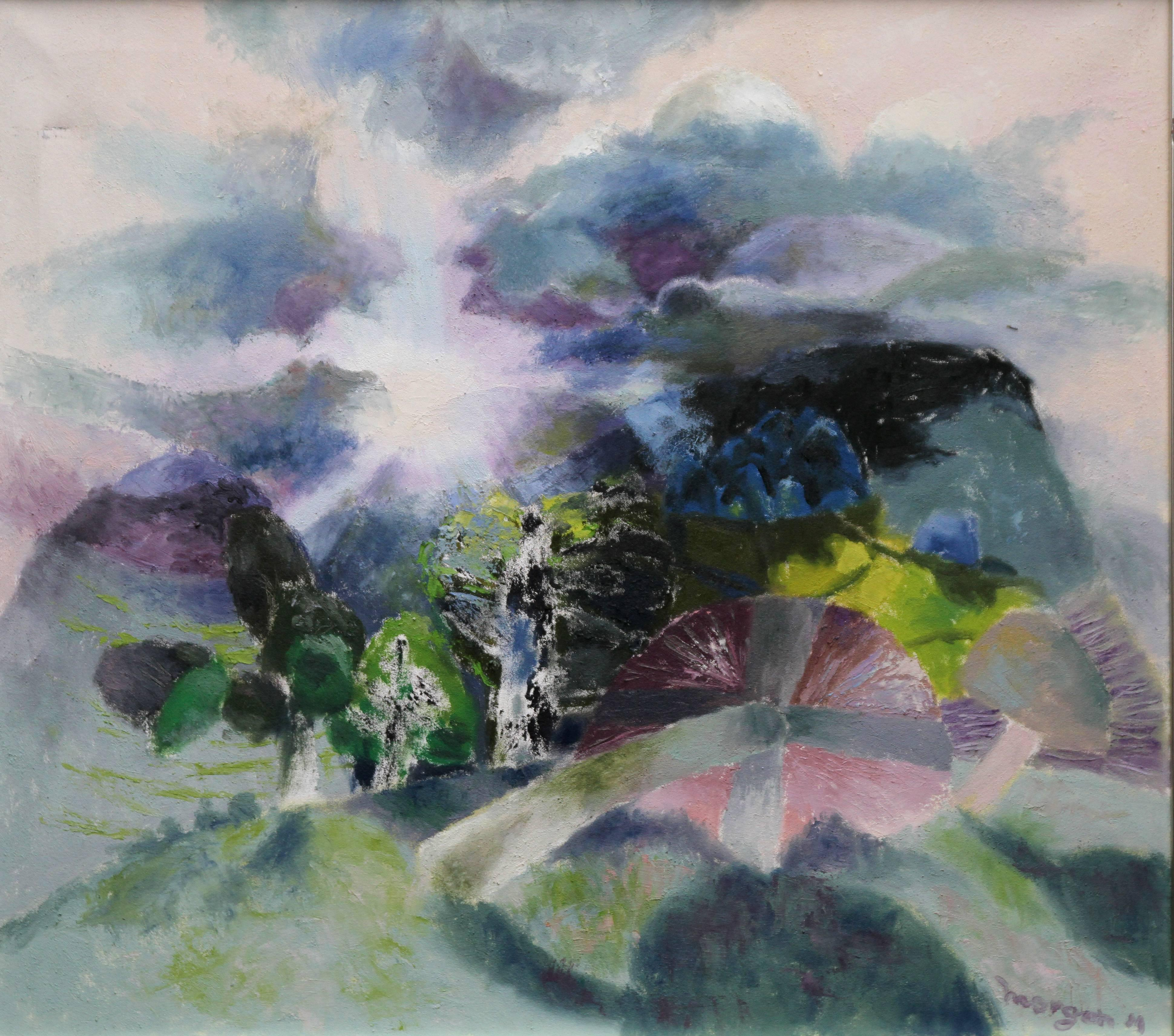 Landscape with Mushrooms - Welsh art Abstract 1985 oil painting field nature