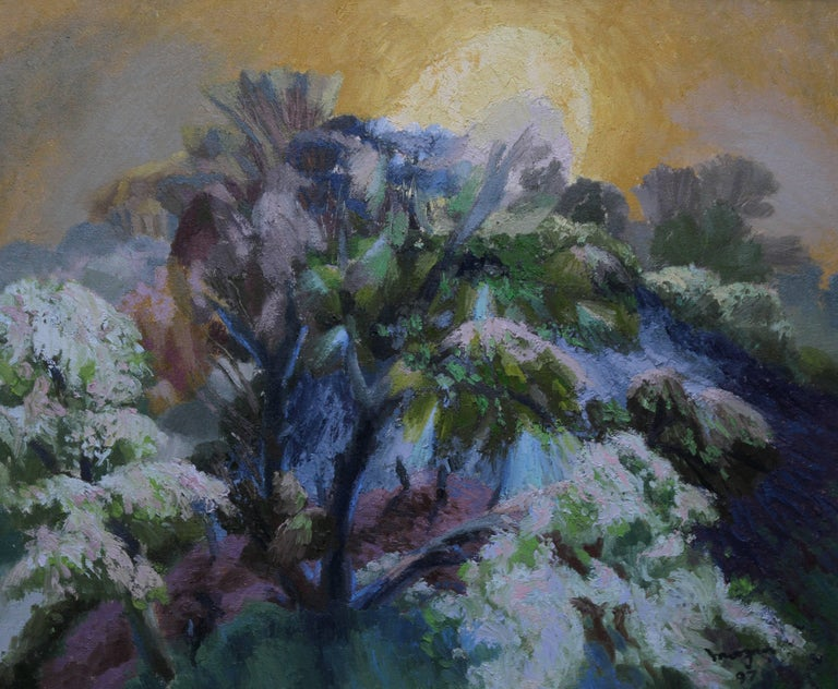 Glyn Morgan Landscape Painting - Landscape with Rising Moon - Welsh Abstract oil painting nocturne purple trees