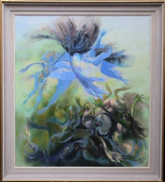 Leto Cursing The Lycians- Welsh Abstract art oil painting Greek Mythology blue