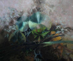 Lily Pond - Welsh Abstract art 1990 oil painting nature lilies water green blue