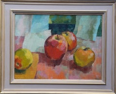Still Life with Apples - Welsh Post Impressionist 1950's fruit art oil painting