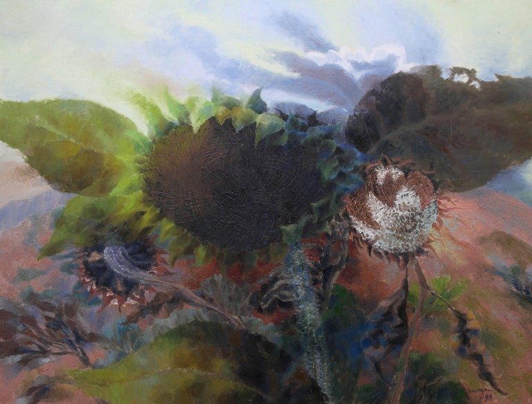 Sunflower Heads in a Landscape - Welsh Abstract oil painting flowers green pink