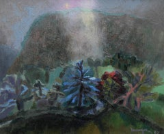 Valley Road - Welsh Abstract art 1987 oil painting landscape Benton End artist