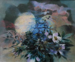 Welsh Landscape - Nightingale - abstract art oil painting flowers moon birds