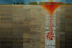 Autumn's Carpet -experimental orange landscape painting oil on canvas