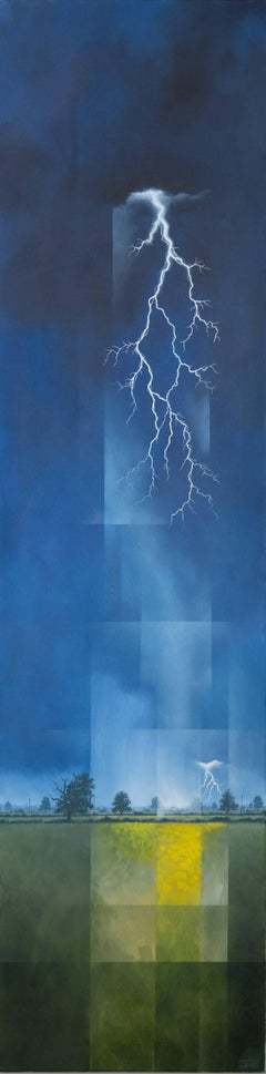 Here Comes Trouble -experimental blue landscape painting oil on canvas