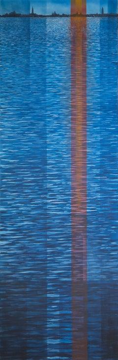Lagoon Sunset -experimental blue landscape painting oil on canvas