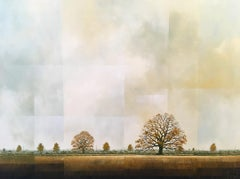 Last Days of Autumn -experimental brown landscape painting oil on canvas