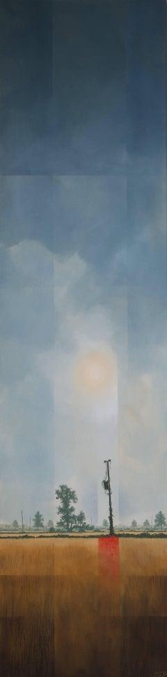 Last Spark -experimental grey landscape painting oil on canvas