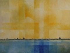 The Borage Fields - Contemporary Rural Landscape: Oil on Canvas