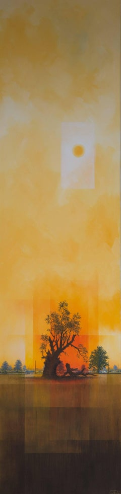 The Grand Old Man -experimental yellow landscape painting oil on canvas