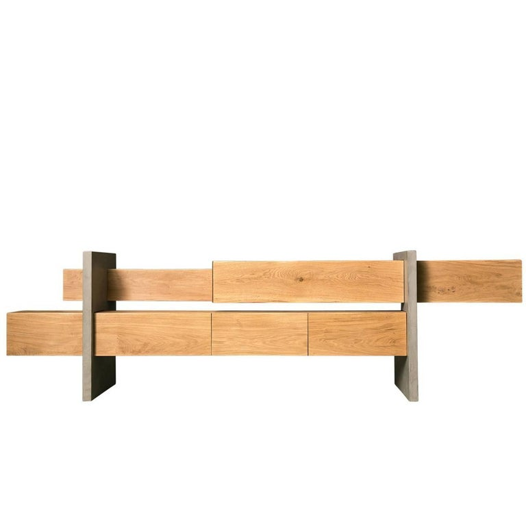 GM5 Oak Sideboard by Giacomo Moor For Sale
