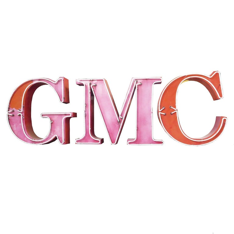 This wonderful sign came from the Oakland California dealership, which sold GMC, Cadillac, Pontiac, and Buick automobiles. We are fortunate to have acquired both the GMC and Buick signs. Each neon letter is individually powered, with a separate
